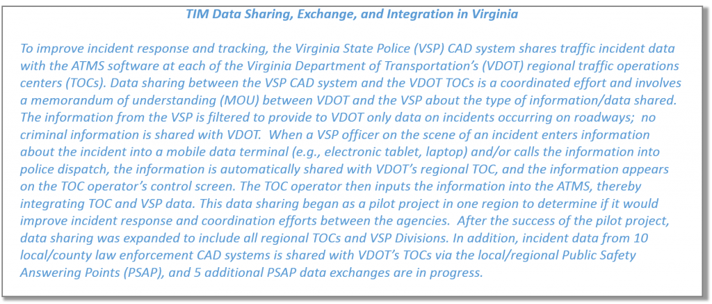 TIM Data Sharing, Exchange, and Integration - VDOT Example