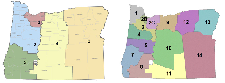 Figure 1. Map of Five Regions and 14 Districts, Respectively, in Oregon